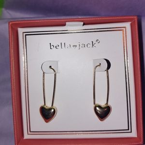 Safety pin heart earrings by Bella · jack gold